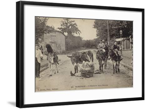 Postcard Depicting a Women Falling from Her Donkey--Framed Art Print