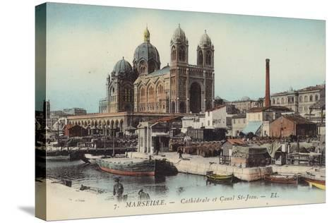 Postcard Depicting the Cathedral and Canal Saint-Jean--Stretched Canvas Print