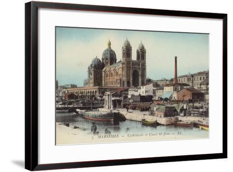 Postcard Depicting the Cathedral and Canal Saint-Jean--Framed Art Print