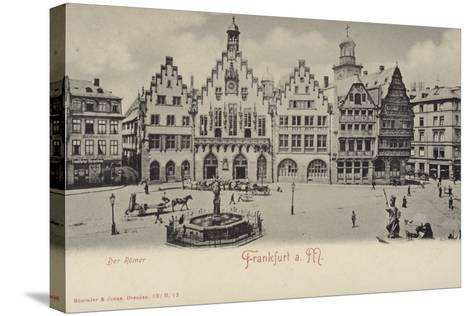 Postcard Depicting a General View of the Romer Area of Frankfurt--Stretched Canvas Print