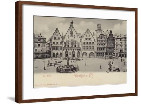 Postcard Depicting a General View of the Romer Area of Frankfurt--Framed Art Print