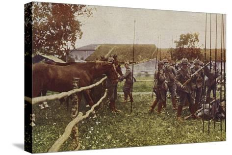 German Cavalry Preparing to Go Out on Patrol, World War I, 1914-1916--Stretched Canvas Print
