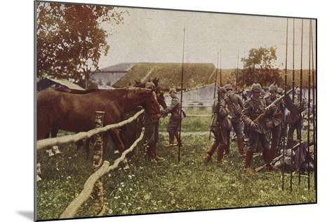 German Cavalry Preparing to Go Out on Patrol, World War I, 1914-1916--Mounted Photographic Print