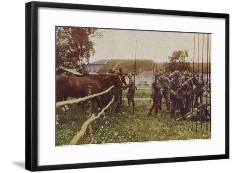 German Cavalry Preparing to Go Out on Patrol, World War I, 1914-1916--Framed Art Print