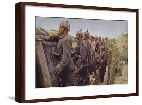 German Soldiers Awaiting the Enemy in a Trench, World War I, 1914-1916--Framed Art Print