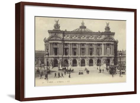 Postcard Depicting the Facade of the Palais Garnier--Framed Art Print