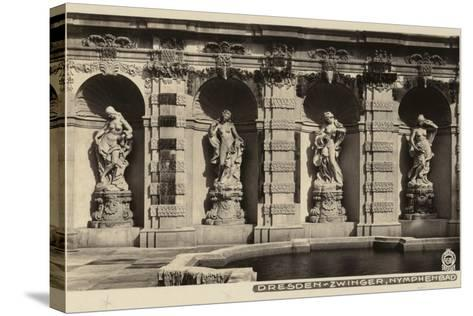 Postcard Depicting the Statues of Nymphs in the Grounds of the Zwinger--Stretched Canvas Print
