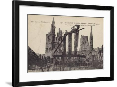 Ruins of the Cloth Hall, Ypres, Belgium, World War I--Framed Art Print