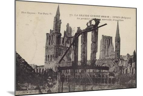 Ruins of the Cloth Hall, Ypres, Belgium, World War I--Mounted Photographic Print