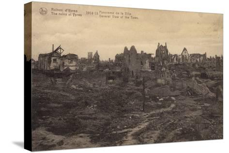 General View of the Ruins of Ypres, Belgium, World War I--Stretched Canvas Print