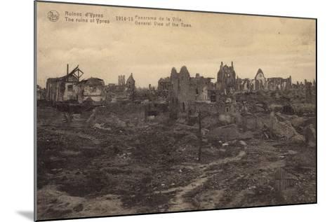 General View of the Ruins of Ypres, Belgium, World War I--Mounted Photographic Print