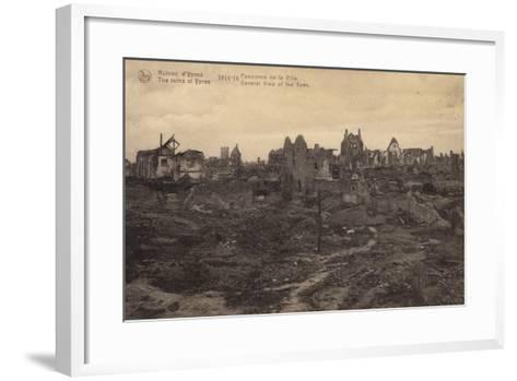 General View of the Ruins of Ypres, Belgium, World War I--Framed Art Print