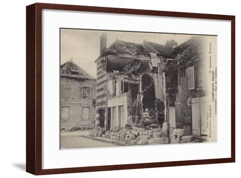 Ruined House in the Rue Du Chateau, Soissons, France, World War I--Framed Art Print