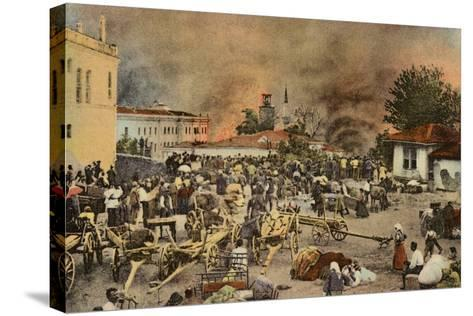 The Town of Salonika on Fire, Greece, World War I, 1917--Stretched Canvas Print