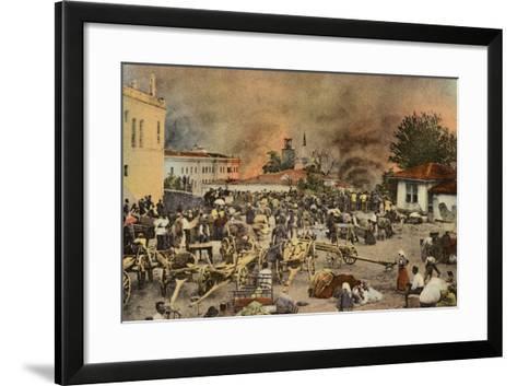 The Town of Salonika on Fire, Greece, World War I, 1917--Framed Art Print