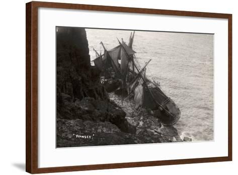 Wreck of the Hansy, Housel Bay, the Lizard, Cornwall, November 1911--Framed Art Print