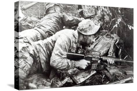 American Special Forces in Action in Vietnam, 1965--Stretched Canvas Print