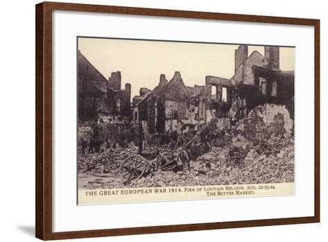 Fire Damaged Buildings, the Butter Market, Leuven--Framed Art Print
