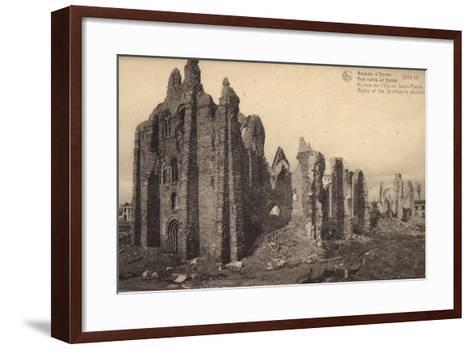 Ruins of St Peter's Church, Ypres, Belgium, World War I--Framed Art Print