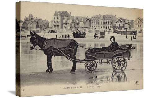 Postcard Depicting a Young Man Sitting in a Cart Being Drawn by a Donkey--Stretched Canvas Print