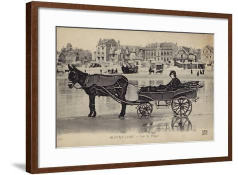 Postcard Depicting a Young Man Sitting in a Cart Being Drawn by a Donkey--Framed Art Print