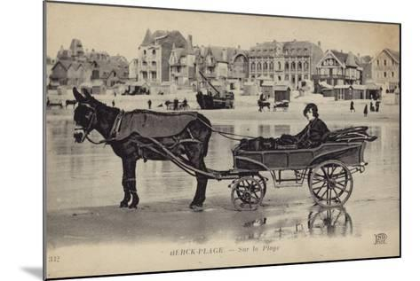 Postcard Depicting a Young Man Sitting in a Cart Being Drawn by a Donkey--Mounted Photographic Print