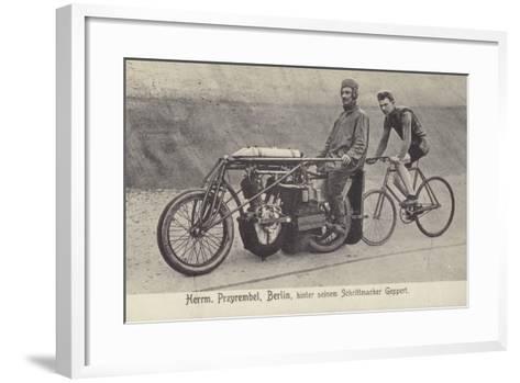 Herrm Przyrembel, Berlin, Hinter Seinem Schrittmacher Geppert--Framed Art Print