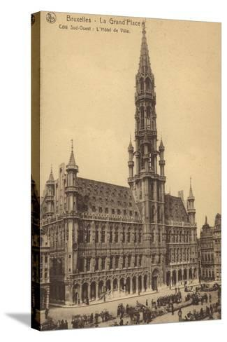 Postcard Depicting the Town Hall in the Grand'Place--Stretched Canvas Print