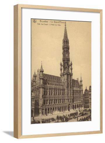 Postcard Depicting the Town Hall in the Grand'Place--Framed Art Print