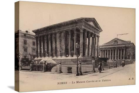 Postcard Depicting La Maison Carree and the Theatre in Nimes--Stretched Canvas Print