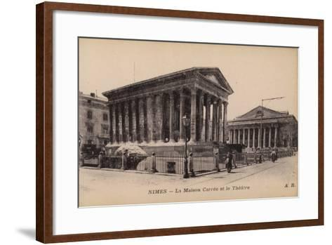 Postcard Depicting La Maison Carree and the Theatre in Nimes--Framed Art Print