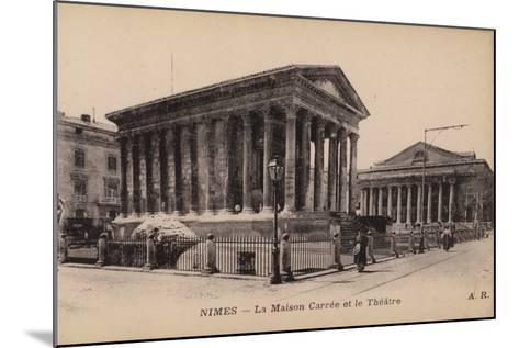 Postcard Depicting La Maison Carree and the Theatre in Nimes--Mounted Photographic Print