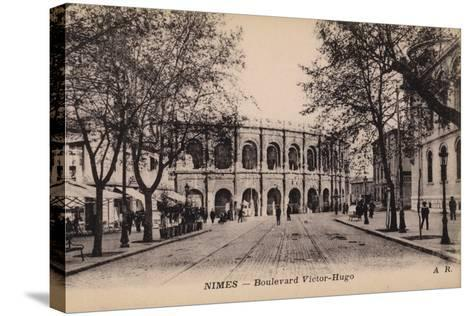 Postcard Depicting the Boulevard Victor-Hugo and the Roman Amphitheatre--Stretched Canvas Print