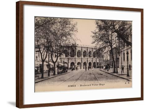 Postcard Depicting the Boulevard Victor-Hugo and the Roman Amphitheatre--Framed Art Print