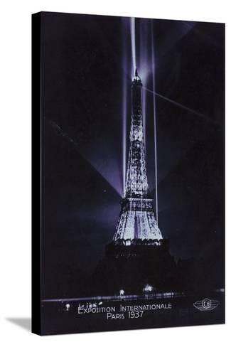 Eiffel Tower at Night, Exposition Internationale, Paris, 1937--Stretched Canvas Print