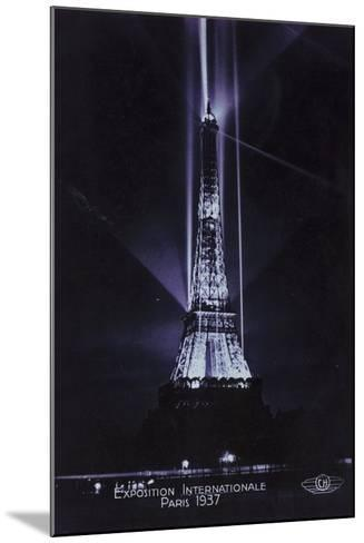 Eiffel Tower at Night, Exposition Internationale, Paris, 1937--Mounted Photographic Print