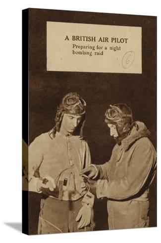 A British Air Pilot Preparing for a Night Bombing Raid, World War II--Stretched Canvas Print