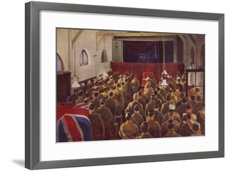 King George V Attending a Church Service with British Troops, World War I--Framed Art Print