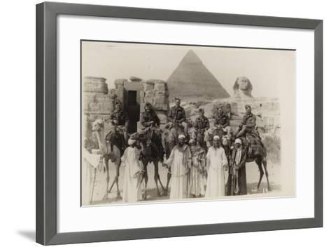 British Soldiers on Camels at the Pyramids of Giza, Egypt, World War II--Framed Art Print