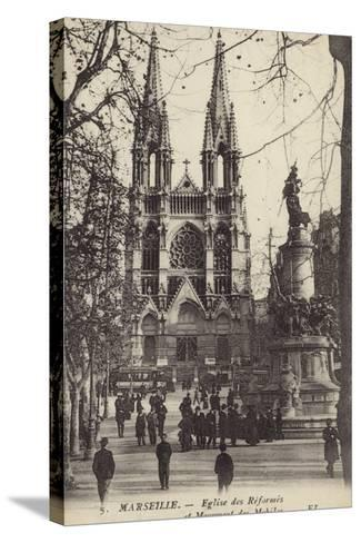 Postcard Depicting the Eglise Des Reformes and the Monument Des Mobiles--Stretched Canvas Print