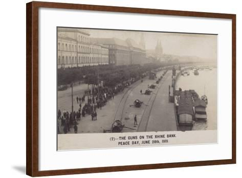 The Guns on the Rhine Bank on Peace Day 28th June 1919--Framed Art Print