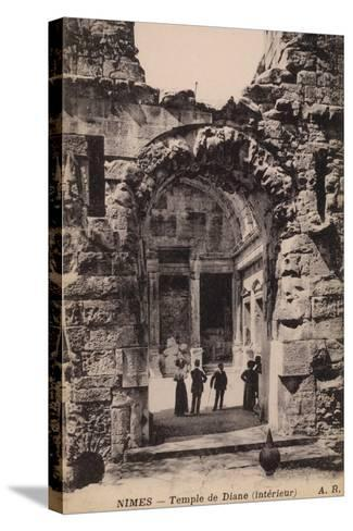 Postcard Depicting the Interior of the Temple De Diane--Stretched Canvas Print