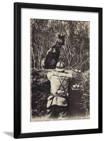 French Grenadier and His Sentry Dog, Aisne Front, France, World War I--Framed Art Print