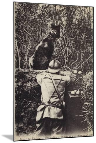 French Grenadier and His Sentry Dog, Aisne Front, France, World War I--Mounted Photographic Print