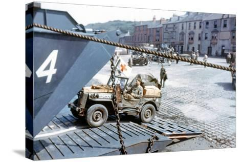 A United States Army Ambulance Jeep Boarding a Landing Craft Transport--Stretched Canvas Print