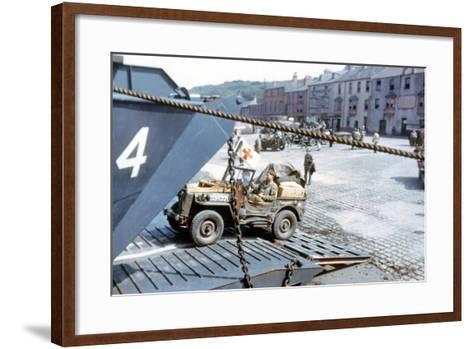 A United States Army Ambulance Jeep Boarding a Landing Craft Transport--Framed Art Print