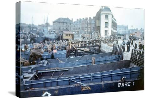 Boats and Ships Waiting in a Port at Weymouth, Southern England, June 1944--Stretched Canvas Print