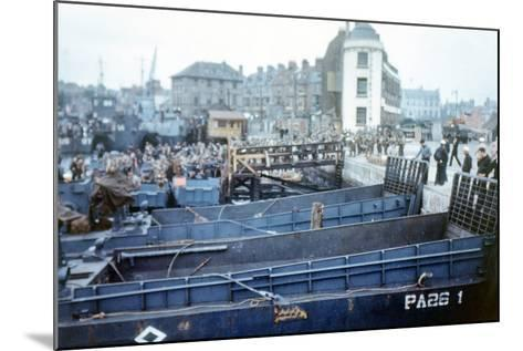 Boats and Ships Waiting in a Port at Weymouth, Southern England, June 1944--Mounted Photographic Print