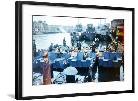 Boats and Ships Waiting in a Port at Weymouth, Southern England, June 1944--Framed Art Print