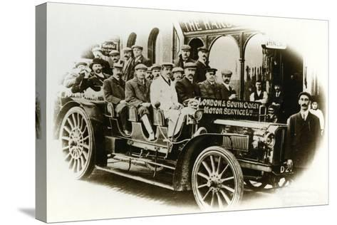 Men Only Coach Outing from the Harbour Hotel, Folkestone, C.1905--Stretched Canvas Print